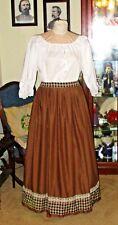 CIVIL WAR DRESS~VICTORIAN STYLE-100% COTTON BROWN CAMP/WORK SKIRT~PLUS SIZE