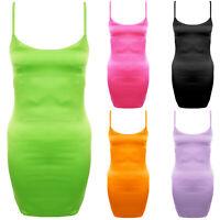 Satin Strappy Scoop Neck Neon Cami Slip Bodycon Mini Evening Silk Party Dress