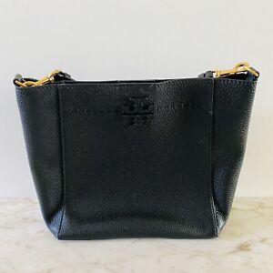 TORY BURCH Solid Black Leather Satchel Bag