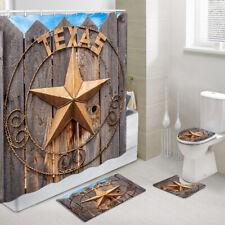Texas Star Shower Curtain Toilet Cover Rug Bath Mat Contour Rug Set