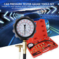 Universal 0-140PSI Fuel Injection Gauge Pressure Tester Test Cars Gasoline Pumps