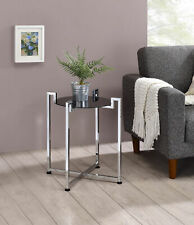 Kings Brand Furniture - Accent Side End Table, Metal & Glass, Chrome / Black