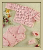 """Baby's Cardigan Matinee Coat and Shoes Knitting Pattern in 4ply 18-20"""" 982"""