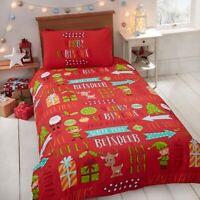"Rapport ""Christmas Fun"" Kids Childrens Reindeer Elf Presents Duvet Cover Bed Set"