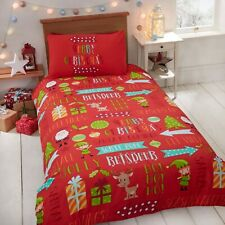 "Rapport ""Christmas Fun"" Kids Childrens Reindeer Elf Presents Duvet Cover Bed Set"