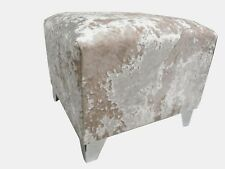 """FOOTSTOOL / POUFFE IN A QUALITY CREAM CRUSHED VELVET 20"""" x 20"""" x 18"""" HIGH"""