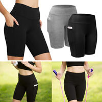 Women Activewear Workout Bike Yoga Shorts Stretch Mid Thigh Leggings with Pocket
