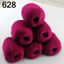 Hot 6balls x 50g Pure Color 100% Cashmere DIY Hand Knitting Needle Wool Yarn 28