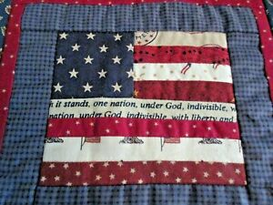 Pretty Little Hand Made Patriotic Quilt Red White Blue Stars & Stripes