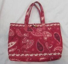 VERA BRADLEY red Mesa paisley bandana tote handbag toggle closure retired MINT