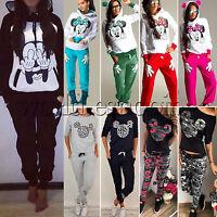 Women Mickey Hoodie 2Pcs Tracksuit Set Sweatshirt Tops Pants Casual Sports Suit