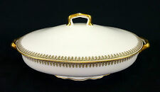 Ahrenfeldt Limoges France Covered Oval Casserole Serving Bowl 1 Quart Gold Trim