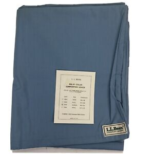 LL Bean Ultra Soft Queen Comforter Cover  Trekking Solid Blue Cotton Made in USA