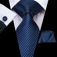 USA Blue White Polka Dot Striped Men's Tie Silk Necktie Set New Hanky Cufflinks
