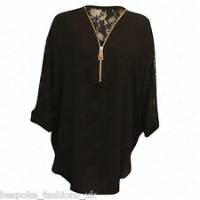 Ladies Women's Curved Hem Floral Lace Back Zip V Neck Baggy Batwing Top 14-28 Black 22-24
