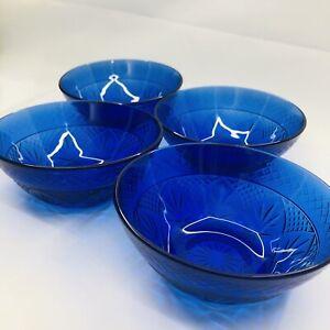 Vintage Luminarc Cristal D'Arques-Durand Cobalt Blue Glass BOWLS Set of 4