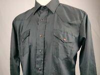 Vintage Karman Mens Western Shirt Black w/ Red Snaps XLarge 17x33 Long Tail USA