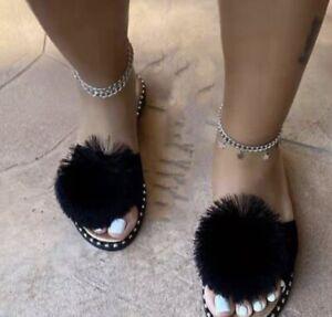 Max Black Real Fox Fur Slides Slippers Summer Beach Sandals Shoes Fur Ball