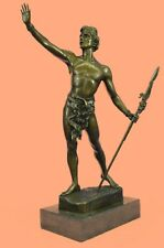 Vintage Reproduction Male Nude Warrior with Spear Hand Made Sculpture Marble Art