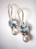 Faceted Blue Topaz and Cultured Pearl 925 Sterling Silver Wire Back Earrings