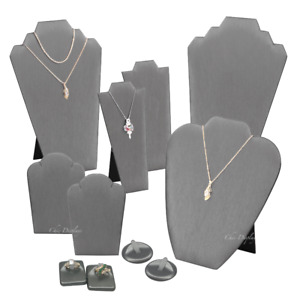 11pc Jewelry Display Set Grey Faux Leather Displays Necklace Ring Earring Stand
