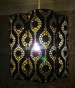 Black & Gold Interior Moroccan style Metal Ceiling Light Shade.