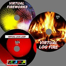 VIRTUAL FISH TANK, FIREWORK DISPLAY & LAVA LAMP 3  DVD SET FOR PLASMA LED TV NEW