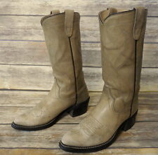 Texas Cowboy Boots Size 6.5 D Light Grey Leather Country Western Shoes Gray