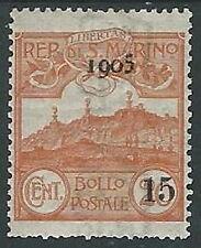 1905 SAN MARINO SOPRASTAMPATO 15 SU 20 CENT MH * - M3-5
