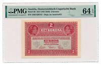 AUSTRIA banknote 2 Kronen 1919 PMG MS 64 EPQ Choice Uncirculated