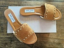 NIB JIMMY CHOO Nanda Suede Slide Golden Studded Sandal, Brown Size 9B/39 $495