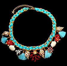 Maritime Statement Necklace with Shells, Tassel, Coral, Fish, STARFISH, Rowing