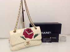 Authentic Chanel Timeless Camellia Flap Bag. Cream Lambskin. Card & Box