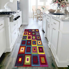 Multi Coloured Modern Non Slip Kitchen Hall Long Runner Door Mat Square 60x110