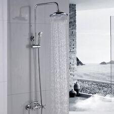Chrome Brass Shower Faucet 8''Rainfall Shower Head With Hand Shower Mixer Tap