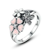 925 silver sterling poetic bloom pink triple 3 daisy cz floral Ring+gift pouch