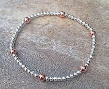 Simple Silver Rose Gold Stretch Bracelet with Silver Ball Beads, Stackable