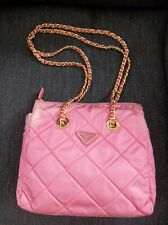 PRADA HANDBAG VINTAGE TESSUTO PINK CORAL NYLON DOUBLE CHAIN  AUTHENTICITY CARDS