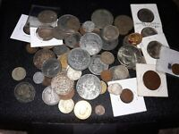 Collection Lot of Foreign & US Coins, Token, Silver wheat 1.6 pounds