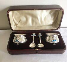 Vintage Arts & Crafts Birmingham Hallmarked Solid Silver Salt Pots & Spoons 1905