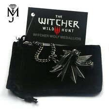 The Witcher 3 III Wild Hunt Wolf Medallion Kette Geralt Necklace + Samtbeutel