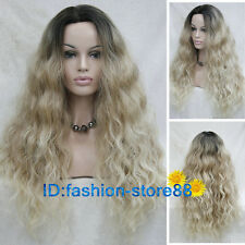Women lace front wig Blonde Mixed long curly ladies Natural hair wig + wig cap