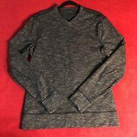 Lululemon Mens Heathered Black V Neck LS Long Shirt Top - Size Large L