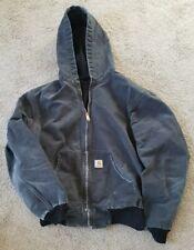 Vintage Distressed Carhartt Hooded Zip Up Jacket Black Medium