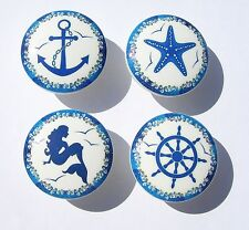 4 BLUE  NAUTICAL WAVE MERMAID SAILBOAT DRESSER DRAWER KNOBS KIDS MADE AS ORDERED