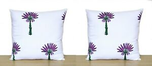 "100% Cotton Handmade Indian Sofa Square Cushion Cover 16X16"" Block Print Set-2"