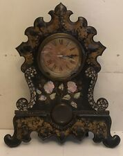 Antique Mother Of Pearl Clock Metal And Wood/ Not Working