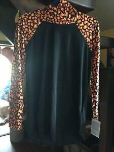 LuLaRoe Creepin it Real Halloween Small S Amber Black Orange Cheetah Animal