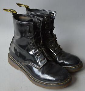 Ladies Dr. Martens 1460 Black Patent Leather Classic Lace Up Boots Size UK 6.