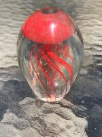 MURANO STYLE ART GLASS CLEAR RED JELLYFISH FIGURINE PAPER WEIGHT